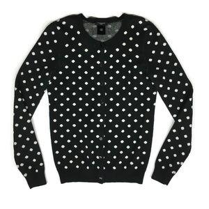 Ann Taylor Petite Cardigan Sweater Polka Dot Black